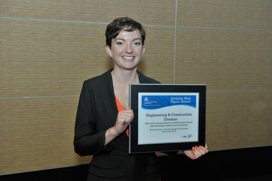 Monica Prosser with AWWA Award for Best Paper.