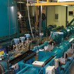 A picture of an electromagnetic flow meter installation.