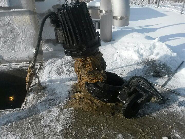 plugged wastewater pump