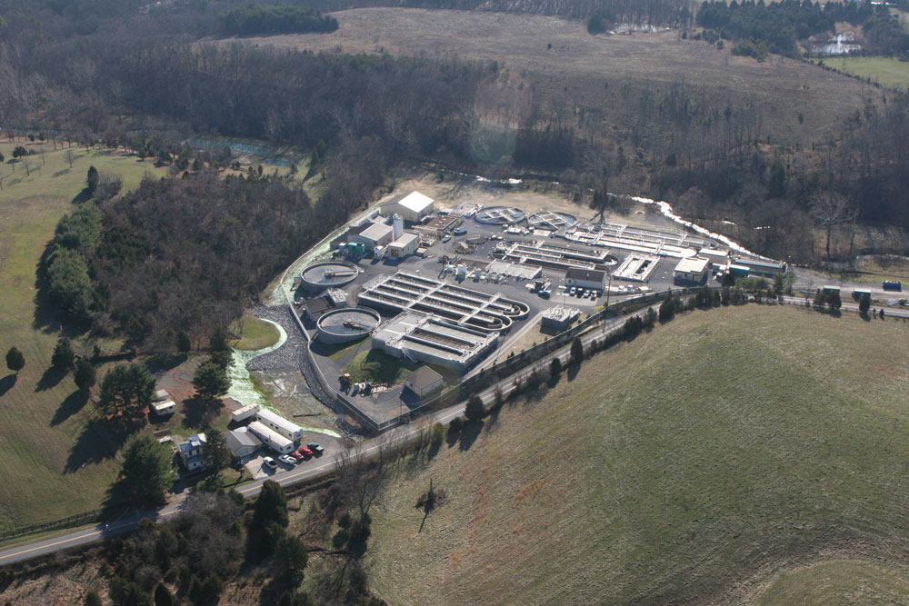 overhead view of municipal wastewater treatment plant
