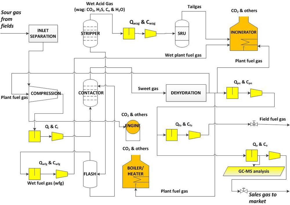 Diagram of sour gas plant
