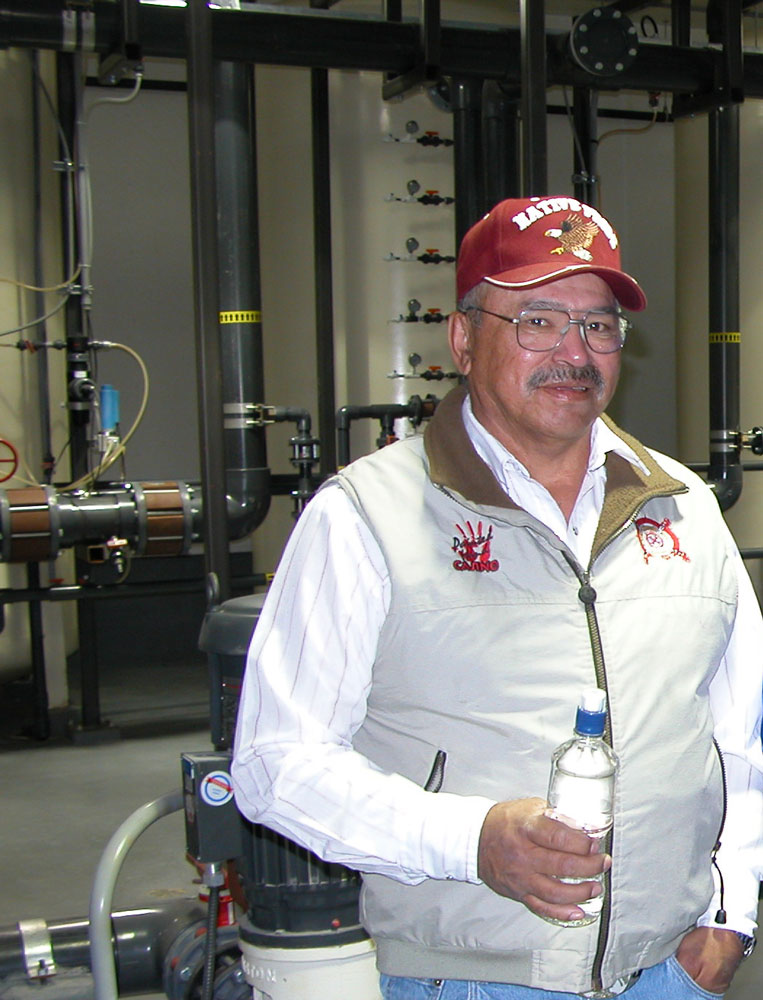 Robert Neapetung in the water treatment plant