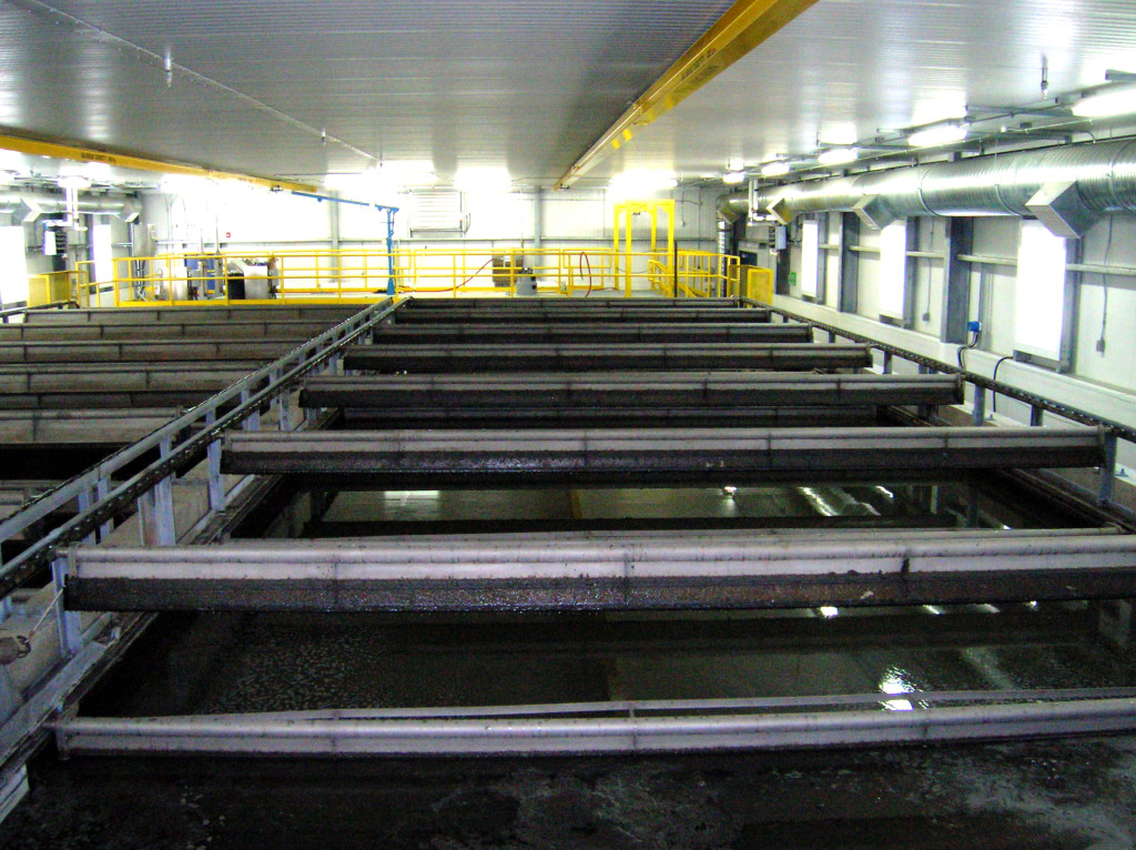 A flotation clarifier serves the Dawson City wastewater facility; the facility applies the Vertreat process, which uses a deep shaft aeration basin.