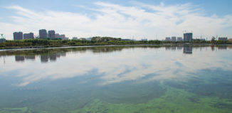 water pollution next to a city