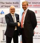 Walter Lamparter of MICRODYN-NADIR shaking hands with TriSep's Peter Knappe