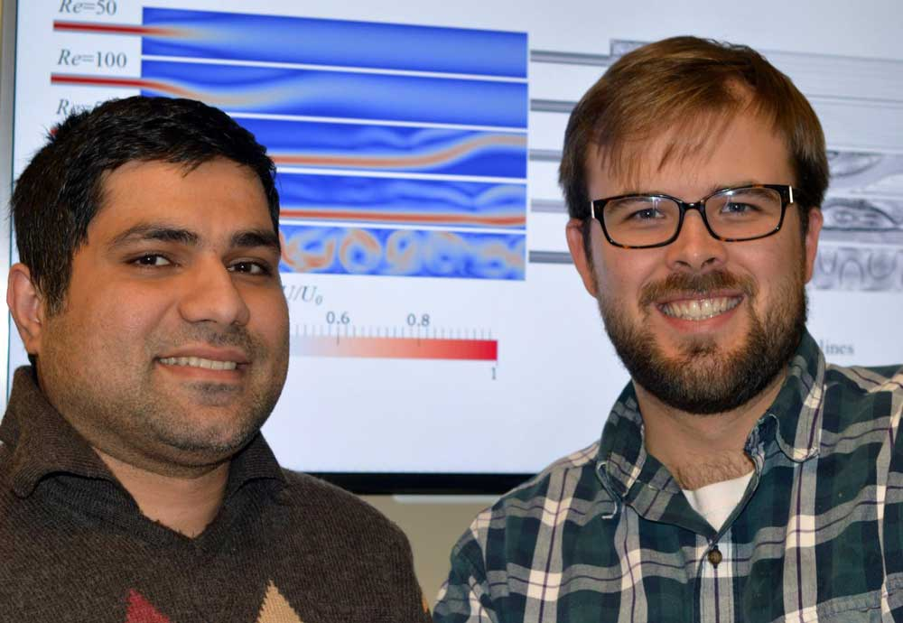 UBC PhD candidate Nima Moallemi (left) and Assistant Professor Joshua Brinkerhoff used computer simulations to improve wastewater filtration. Source: UBC.