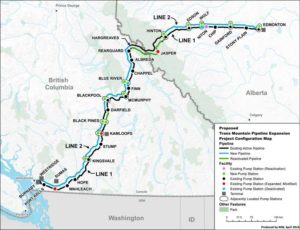 Overview of the Trans Mountain Pipeline Expansion Project. Map produced by the National Energy Board, April 2016.