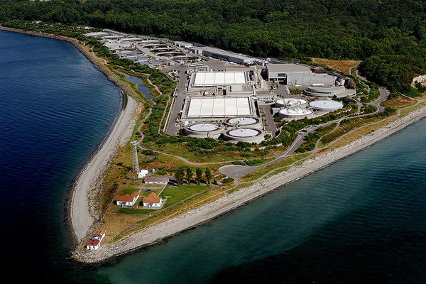 aerial view of west point wastewater treatment plant