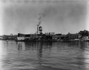 The British American Paint Company that operated near Laurel Point until 1974 damaged the surrounding sediments and threatened the health of marine wildlife. Photo Credit: City of Vancouver Archives.