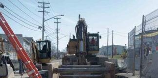 Trenching to install a new large water transmission main