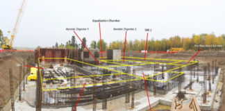 construction of the wastewater treatment plant in Thompson, Manitoba