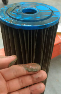 Fouled 100-micron particulate filters