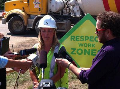 Angela Gardiner talking to media
