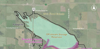 Map of the Springbank Off-Stream Reservoir