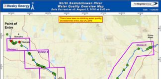 North Saskatchewan River Water Quality Map