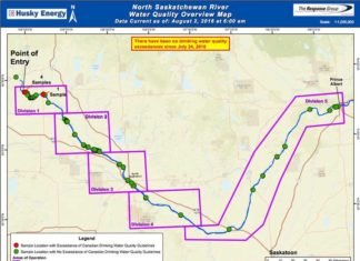 North Saskatchewan River Water Quality Map