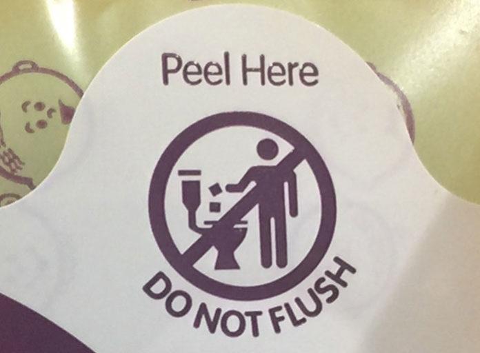 Flushable wipes label