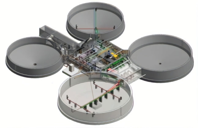 Interior digester complex 3D model Corbett Creek Water Pollution Control Plant