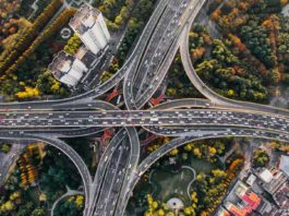 overview of highway intersection traffic
