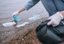 PPE litter on beach